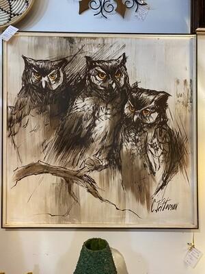 Mid Century Modern Signed Owl Painting
