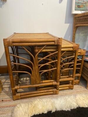 Set of 3 Rattan Nesting Tables