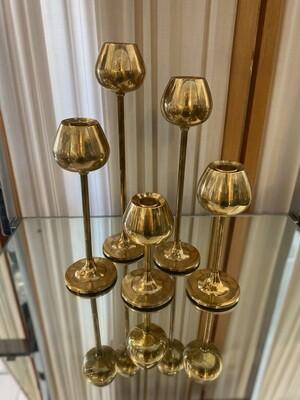 Mid Century Modern Set of 5 Brass Tulip Candle Holders