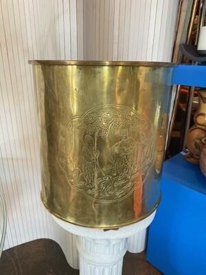 Vintage Etched Brass Waste Basket