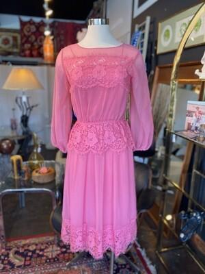 Vintage Deadstock JC Penney Fashions Pink Lace Dress