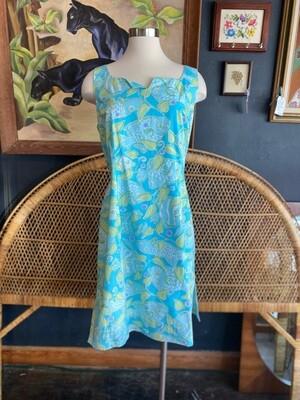 Modern Lilly Pulitzer Blue Green Sleeveless Dress