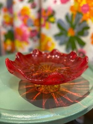 Mid Century Glass Pedestal Red/Orange Candy Dish