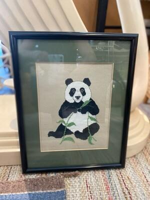 Vintage Framed & Matted Panda Cross Stitch