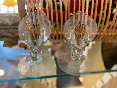 Vintage Floral Glass Candle Holders