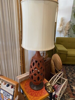 Mid Century Pottery Lamp with Original Shade