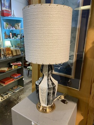 Vintage Ceramic Black White & Gold Base Lamp with Original Shade