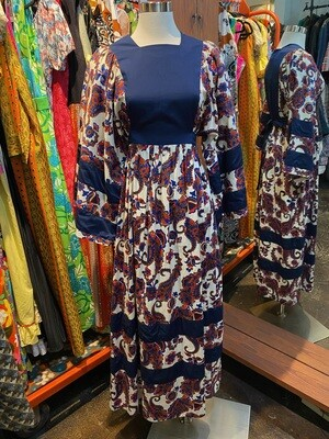 Vintage 1970's Blue & Red Paisley Maxi