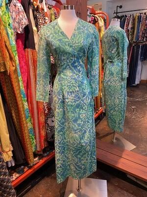Vintage Green Blue Cotton Maxi