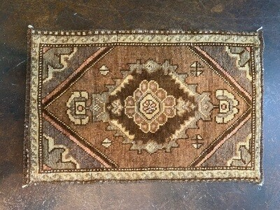 Vintage Yastic Rug Handmade from Turkey Browns & Mauve