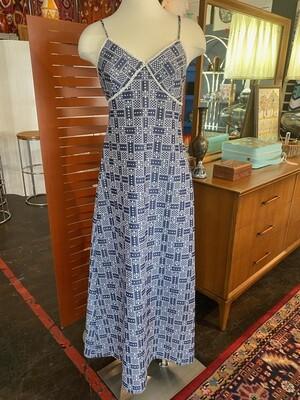 Vintage Floral Geometric Sun Dress