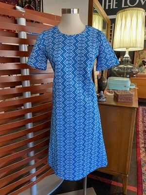 Vintage 1970's Polyester Zig Zag MIni Dress