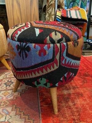 Handmade Ottoman with Vintage Kilim, Made in Turkey