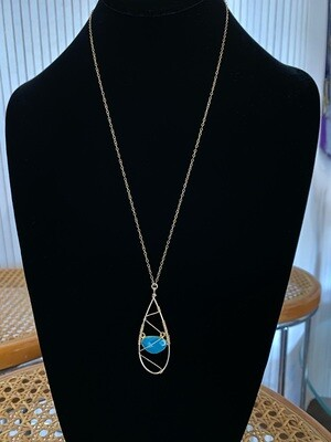 Handmade Gold Filled Chalcedony with Wire Detail