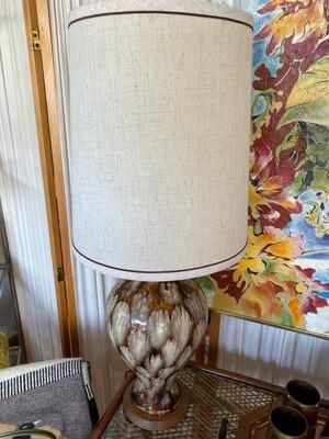 Mid Century Modern Ceramic Lamp with Original Shade