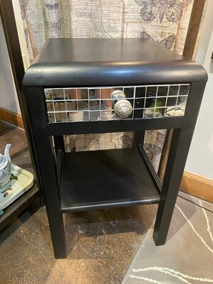 Vintage Black Table with Mirrored Drawer
