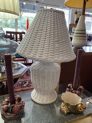Vintage White Wicker Lamp
