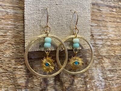 Handmade Gold Filled Gold Plated Evil Eye Opal Earrings