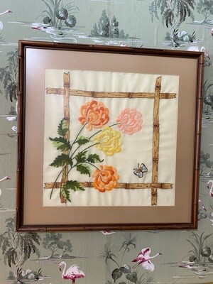 Vintage Embroidered Butterfly & Floral Wall Art