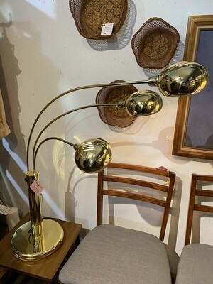 Mid Century Modern 1970's Gold Chrome Orb 3 Way Table Lamp