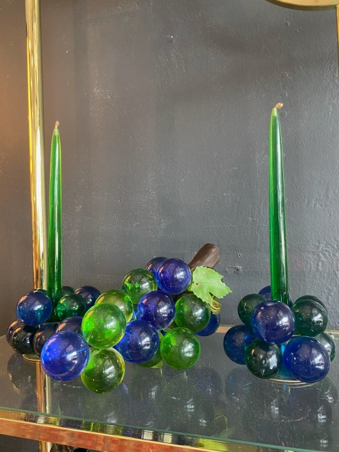 Mid Century Modern 3 Piece Set Glass Grapes with Lucite Candles