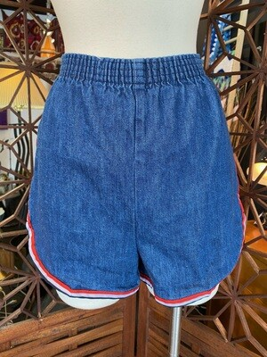 Vintage 1970's Red White & Blue Trim Denim Shorts