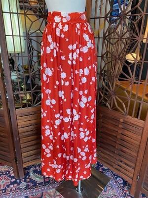 Vintage Red Floral Skirt