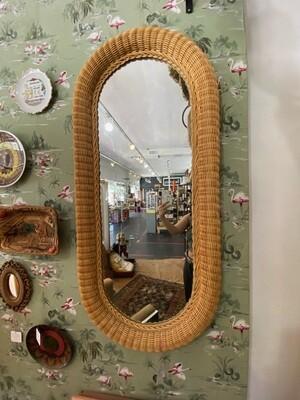 Vintage Wicker Oval Wall Mirror