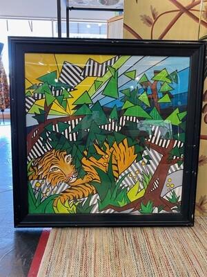 Mid Century Signed Pop Art Jungle Wall Art
