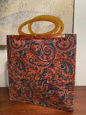 Vintage Paisley Handbag with Lucite Handle
