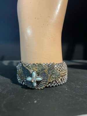 Handmade Repurposed Bracelet with Rhinestones & Wings