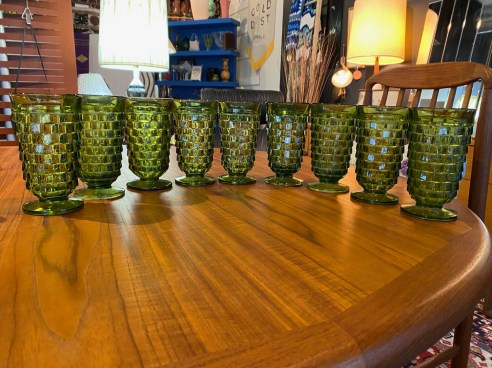 Mid Century 1960's Whitehall 12oz Avocado Green Goblets
