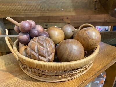 Vintage Wood Bowl & Fruit