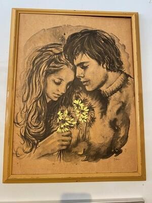 "Vintage Lovers Watercolors Signed ""Vera"""