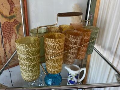 Vintage Spaghetti String Glasses in Caddy