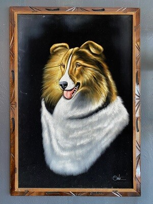 Vintage Black Velvet Painting of Mike the Collie