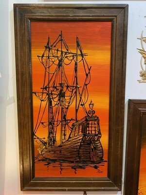 Mid Century Modern Framed Signed Ship Painting #1