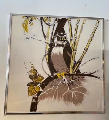 Mid Century Framed Owl Painting