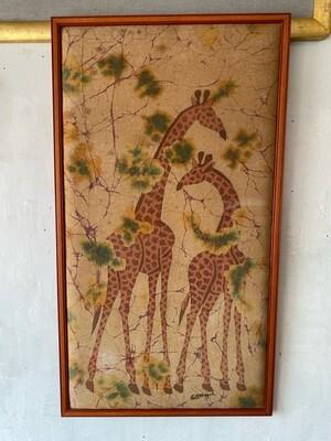 Vintage Framed Batik Giraffes