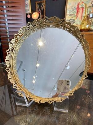 Vintage Round Mirrored Tray