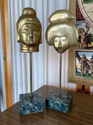 Vintage Asian Brass Masks on Marble Base