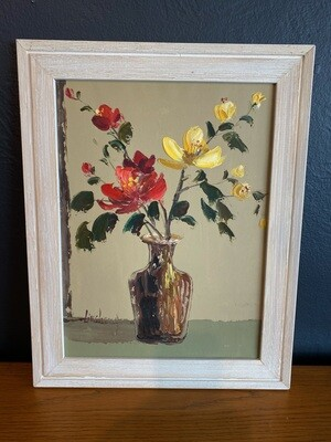 Mid Century Signed Floral Wall Art
