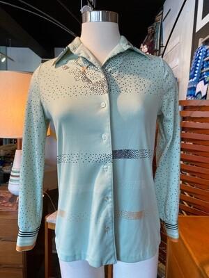Vintage 1970's Polyester Long Sleeve Dot Blouse
