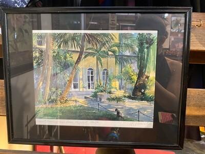 1990's Framed Ernest Hemingway's House, Key West Signed Art