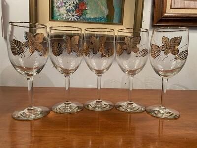 Vintage Set of Gold Rim & Leaves Wine Glasses