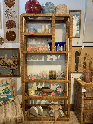 Mid Century Wrapped Wicker Etagere