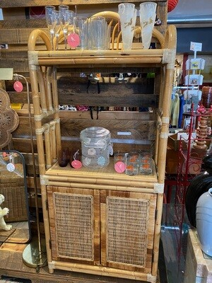 Vintage Rattan Wicker Shelf with Cabinets