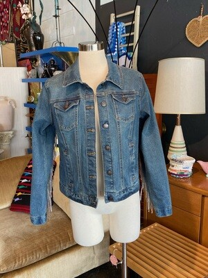 Modern Denim Jacket wiht Glitter Fringe on Back