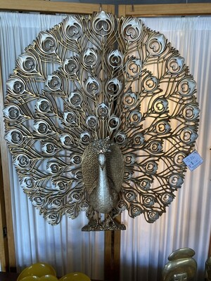 Mid Century Modern Large Burwood Gold Peacock Wall Decor with Crystal Head Piece