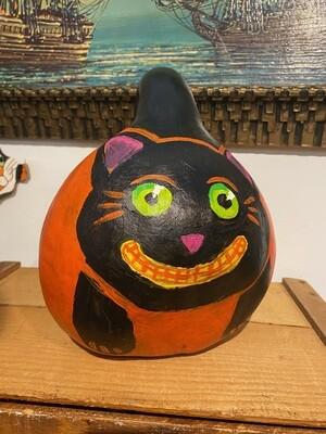 Hand Painted Black Cat Halloween Gourd